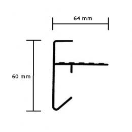 Geanodiseerde Daktrim plat 60x64 mm lengte 2.5 meter