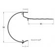 Dakrandprofiel roval kraal 38 mm lengte 2.5 m